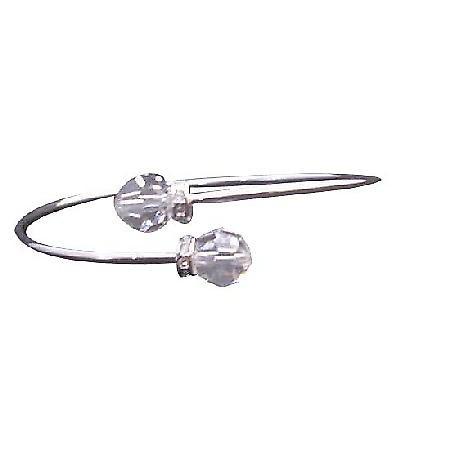 Swarovski Clear Crystals 8mm Wire Cuff Bracelet Silver Sparkle Rondell