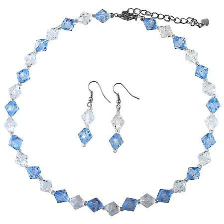 Wedding Bridesmaid Lite Blue Clear Immitation Crystals Jewelry Set