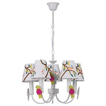 Glasberg - White Children's Five Light Ceiling Pendant With Printed Design 365014305