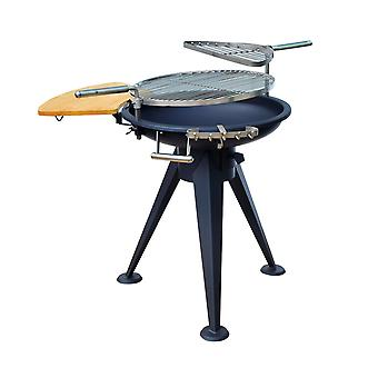 Outsunny Outdoor Garden Patio Adjustable Barbecue Double Grill Charcoal BBQ Party Cooking Fire Pit with Cutting Board - Black