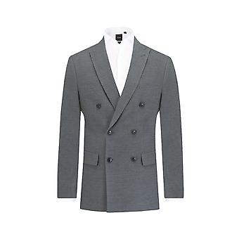 Dobell Mens Light Grey Suit Jacket Slim Fit Peak Lapel Double Breasted