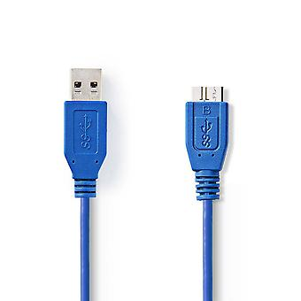 USB 3.0 Cable A Male - Micro B Male 3.0 m Blue Charge Data Sync