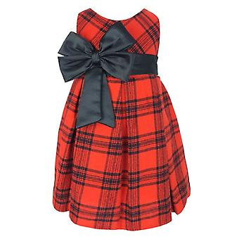 Baby Girls Tartan Highland Sleeveless Red & Black Check Party Dress