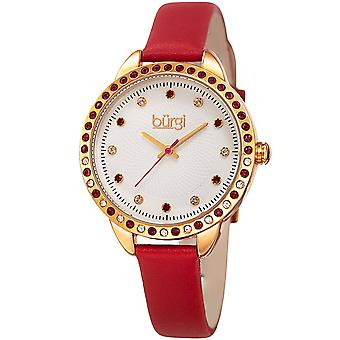 Burgi Women's Quartz Swarovski Crystal Red Leather Strap Watch BUR161RD