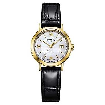 Rotary Womens Windsor Mother of Pearl Dial Black Leather Strap LS05303/41 Watch