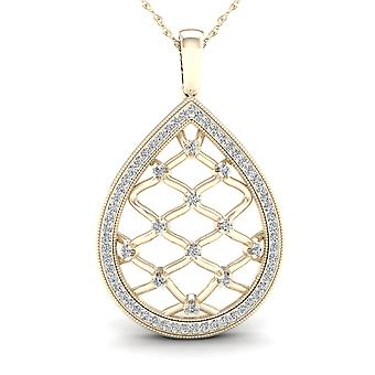 IGI Certified 10K Yellow Gold 0.25ct TDW Diamond Drop Filigree Fashion Necklace
