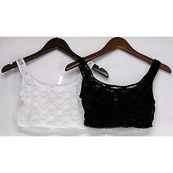 Rhonda Cizalla 2 Pack Encaje Capas Camisole Tops Negro / Blanco 309-415