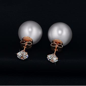18K Rose Gold Plated Simulated Pearl And Cubic Zirconia Earrings