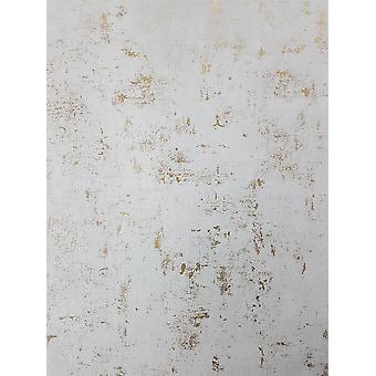 Industrial Stone Concrete Wallpaper Metallic White Gold Vinyl Paste Wall