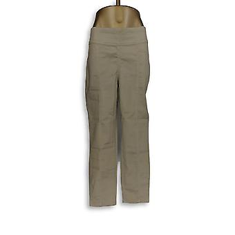 Denim & Co. Women's Pants Stretch Wide Waistband Ankle Beige A350870