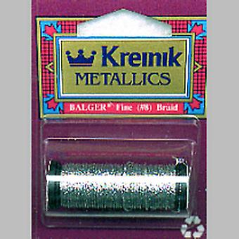 Kreinik Fine Metallic Corded Braid #8 10 Meters 11 Yards Silver C8 001C