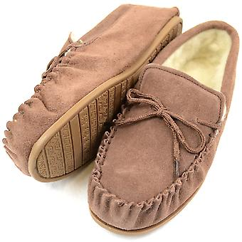 Ladies Light Brown Moccasin Sheepskin Slipper with Hard Sole