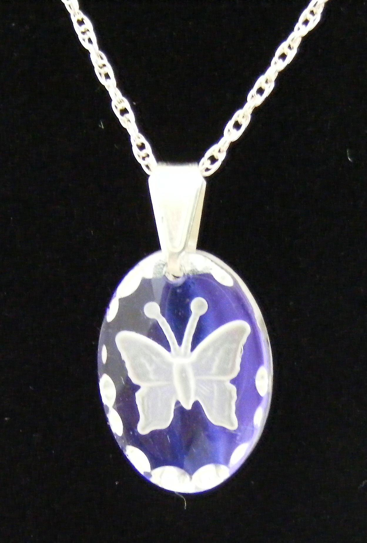 Ice Blue Small Oval Butterfly Crystal Pendant
