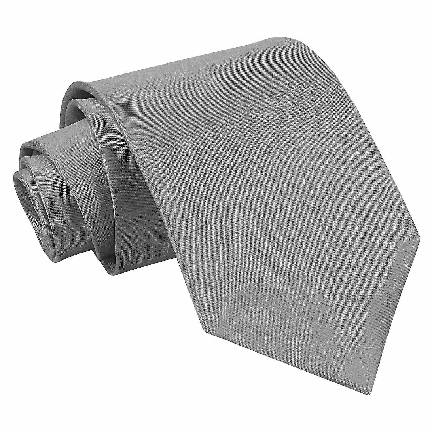 Plain Platinum Satin Extra Long Tie
