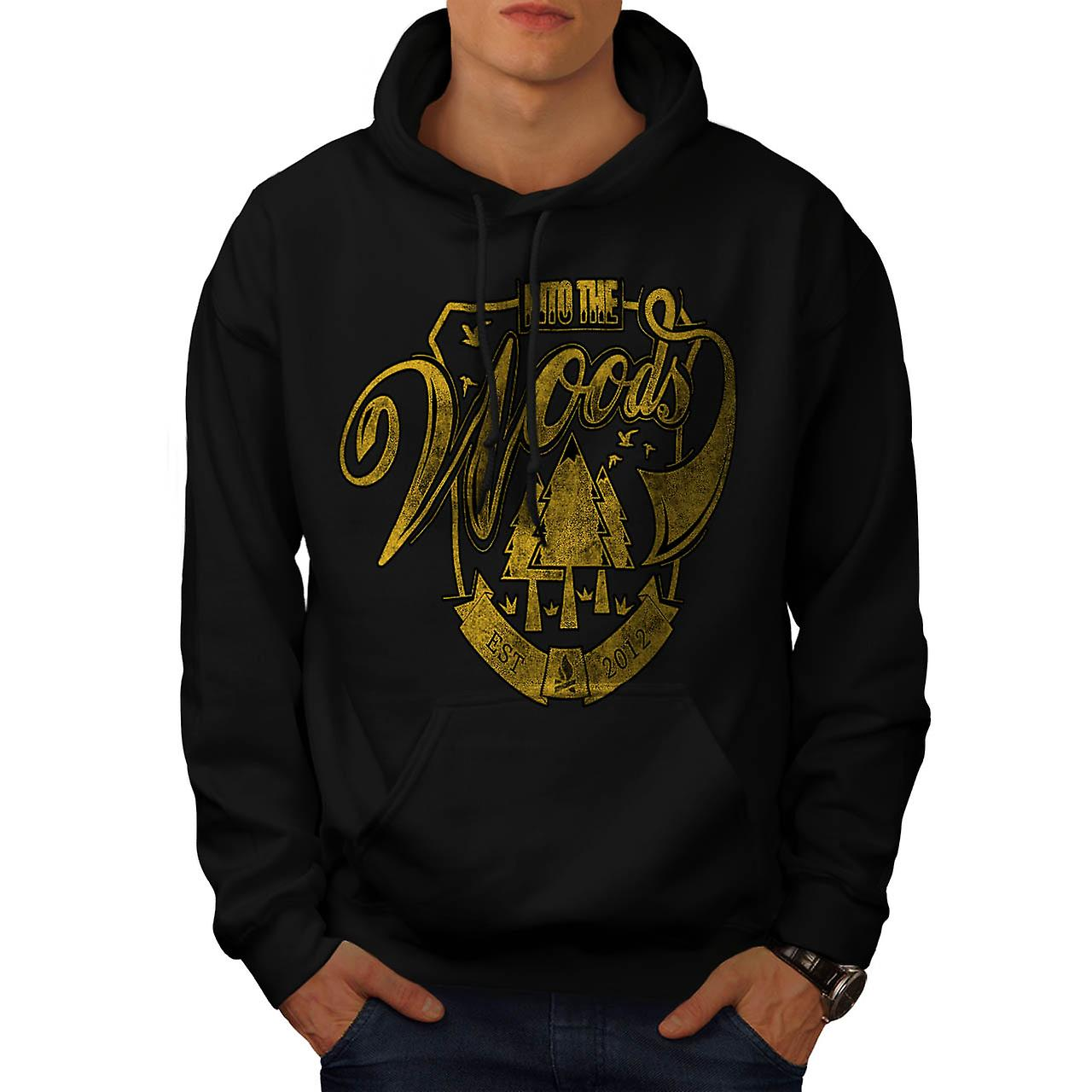 Into The Woods Camp Wilderness Men Black Hoodie | Wellcoda
