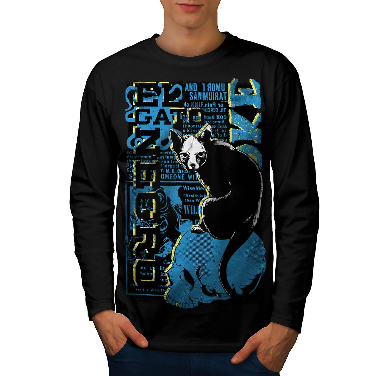 Gato Negro Black Cat Witch Pet Men Black Long Sleeve T-shirt | Wellcoda