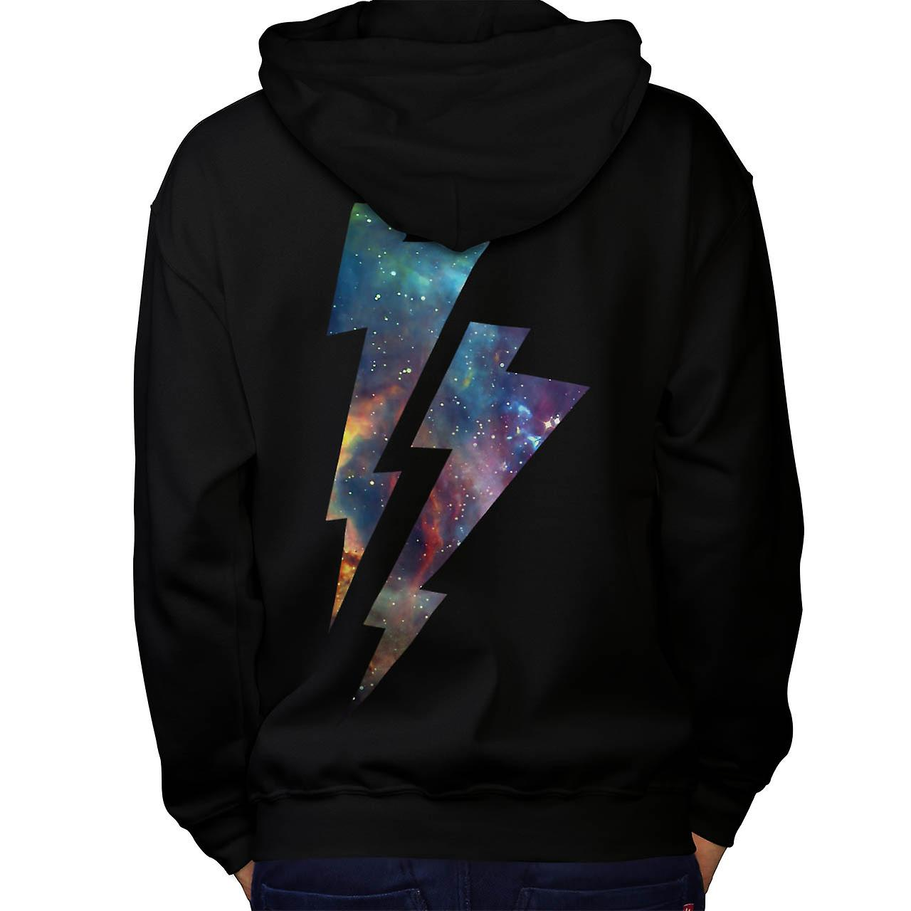 Lightning Strike Space Cosmos Men Black Hoodie Back | Wellcoda