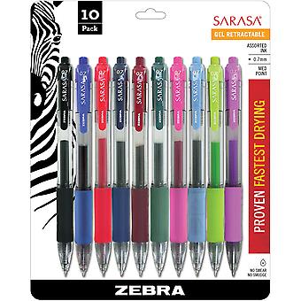 Sarasa Retractable RDI Gel Pen .7mm 10/Pkg-Assorted Z46881
