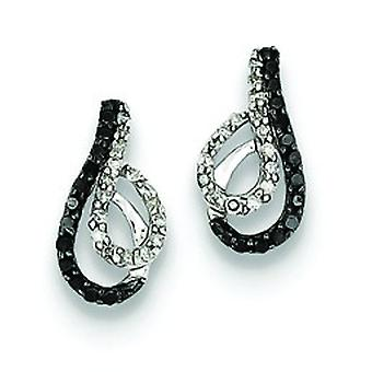Black and White Diamond Swirl Post-oorbellen in zilver