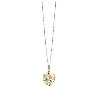 Guess ladies chain necklace stainless steel gold heart UBN71522