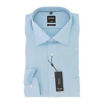 Olympus Luxor mens shirt turquoise modern fit Kent collar non-iron Gr. 47