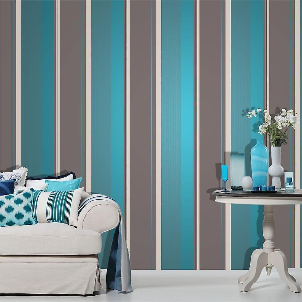 Stripe Wallpaper Bold Teal Silver Grey Luxury Modern
