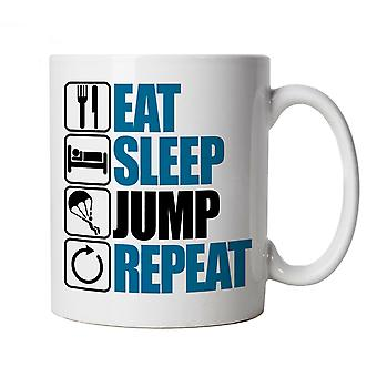 Vectorbomb, Eat Sleep Jump Repeat, Novelty Parachute Mug