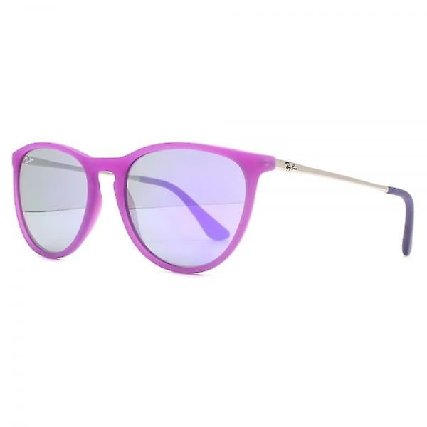 Ray-Ban Junior Izzy Keyhole Round Sunglasses In Violet Fluorescent Transparent Rubber