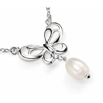 925 Silver Pearl And Butterfly Necklace