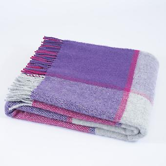 Tweedmill Pure New Wool Block Check Throw - Fuschia