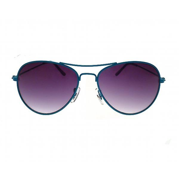 W.A.T Classic Unisex Aviator Sunglasses With Blue Frames And Blue Lenses