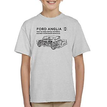 Haynes Workshop Manual 0001 Ford Anglia Black Kid's T-Shirt