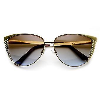 Womens Oversize metallo incisa Glam gatto occhio occhiali da sole