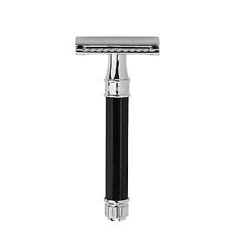 Edwin Jagger Black Imitation Ebony Chrome Plated Double Edge Safety Razor DE86811Bl