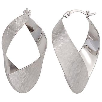 Hoops turned earrings 925 sterling silver rhodium-plated Satin Silver earrings