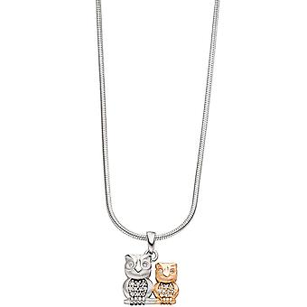 Trailer OWL 925 sterling silver gold plated bicolor with cubic zirconia