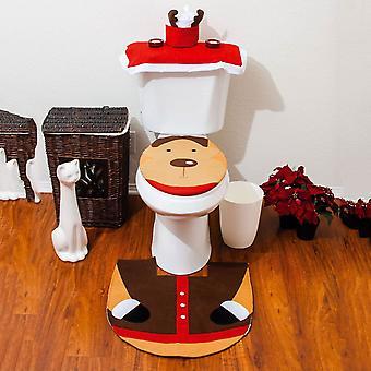 Juledekoration Santa toilet sæt sædebetræk & tæppe & væv boks dække sæt