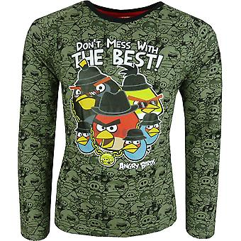 Boys Angry Birds Long Sleeve T-Shirt / Top Army