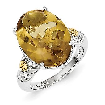Sterling Silver Polished Prong set With 14k Whiskey Quartz Ring - Ring Size: 6 to 8