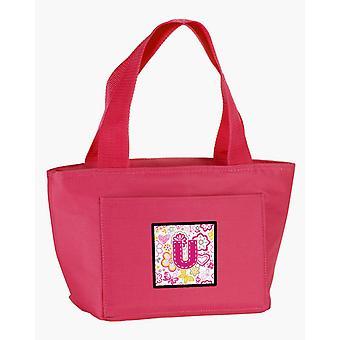 Buchstabe U Blumen und Schmetterlinge rosa Lunch-Bag