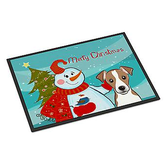 Snowman with Jack Russell Terrier Indoor or Outdoor Mat 24x36