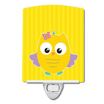 Carolines Treasures  BB9115CNL Owl and Yellow Stripes Ceramic Night Light