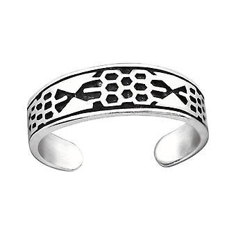 Patterned - 925 Sterling Silver Toe Rings - W32307x