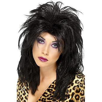 80's superstar pop star wig black