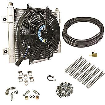 BD Diesel 1030606-3/8 Xtruded Auxiliary Transmission Oil Cooler Kit 3/8in. Tubing Incl. Cooler/Brackets/Wiring Harness/F