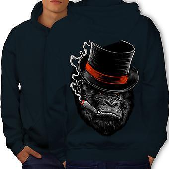 Monkey Mafia Smoke Men NavyHoodie Back | Wellcoda