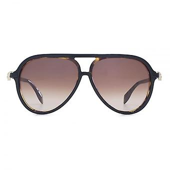 Alexander McQueen Iconic Skull Acetate Pilot Sunglasses In Black On Havana