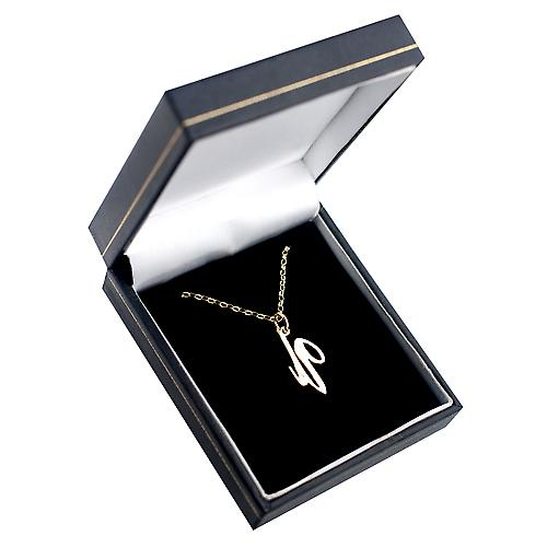 9ct Gold 24x12mm plain Initial U Pendant with a belcher Chain 16 inches Only Suitable for Children