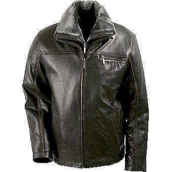 Fortuna Mens Leather Jacket With Fur