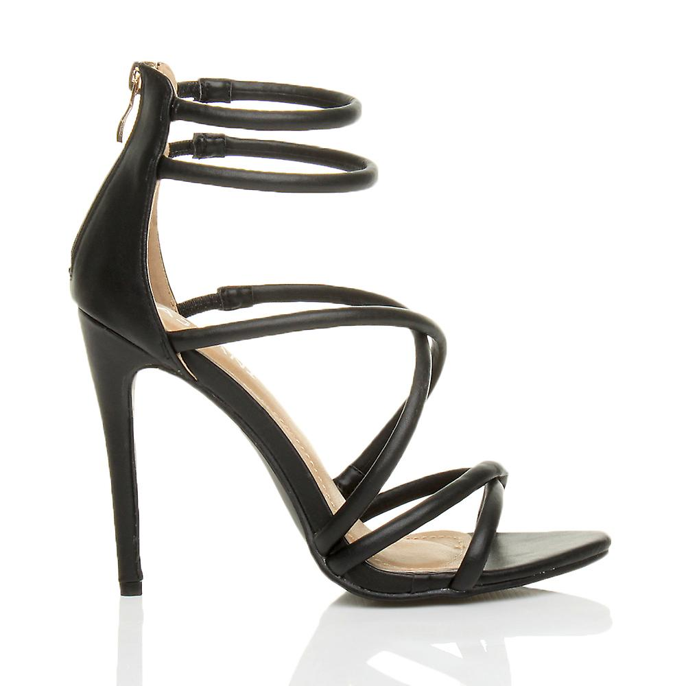 barely womens there stiletto Ajvani strappy zip heel party shoes sandals high crossover gXxSSpqBw
